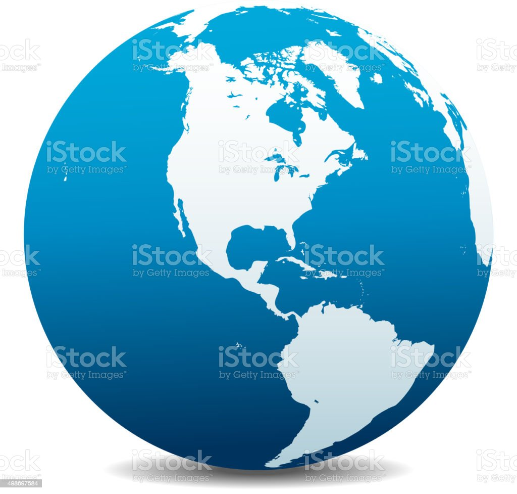 North and South America Global World vector art illustration