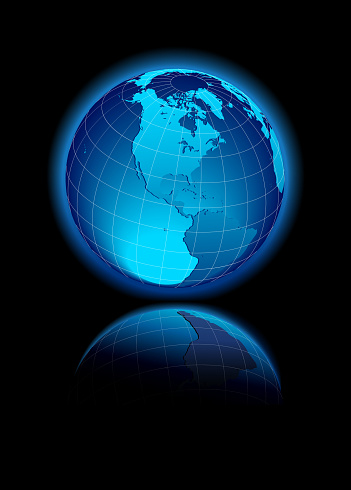 North and South America Global World with reflection