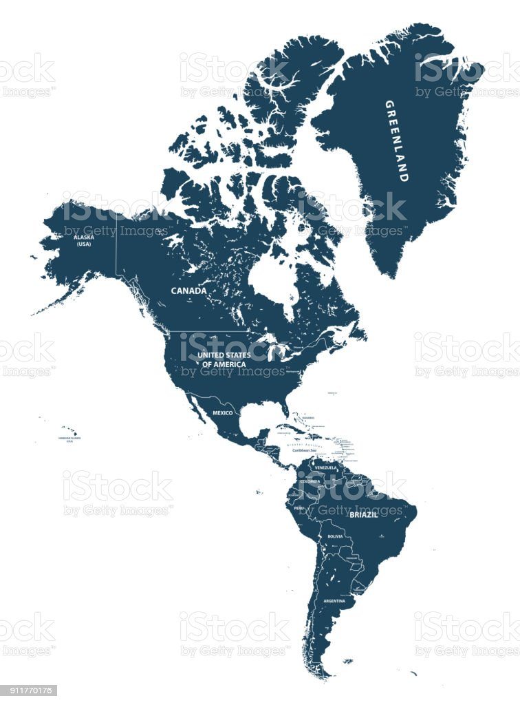North And South America High Detailed Vector Map Stock ...