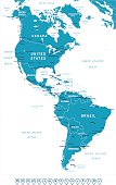 North and South America - map and navigation labels - illustration