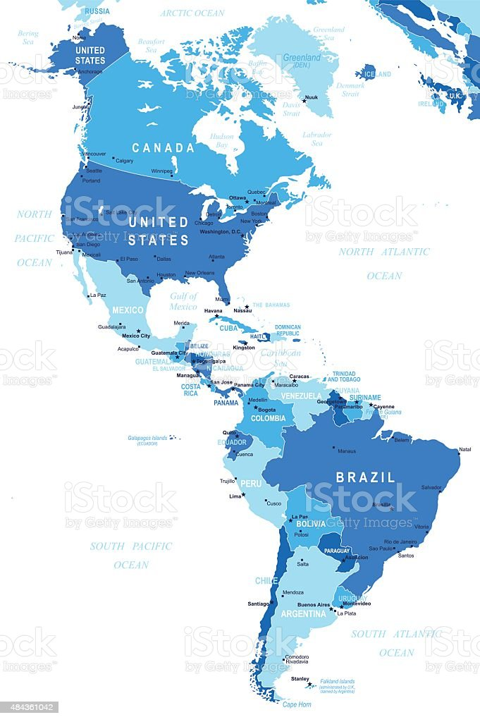 North and South America - map - illustration royalty-free north and south america map illustration stock illustration - download image now