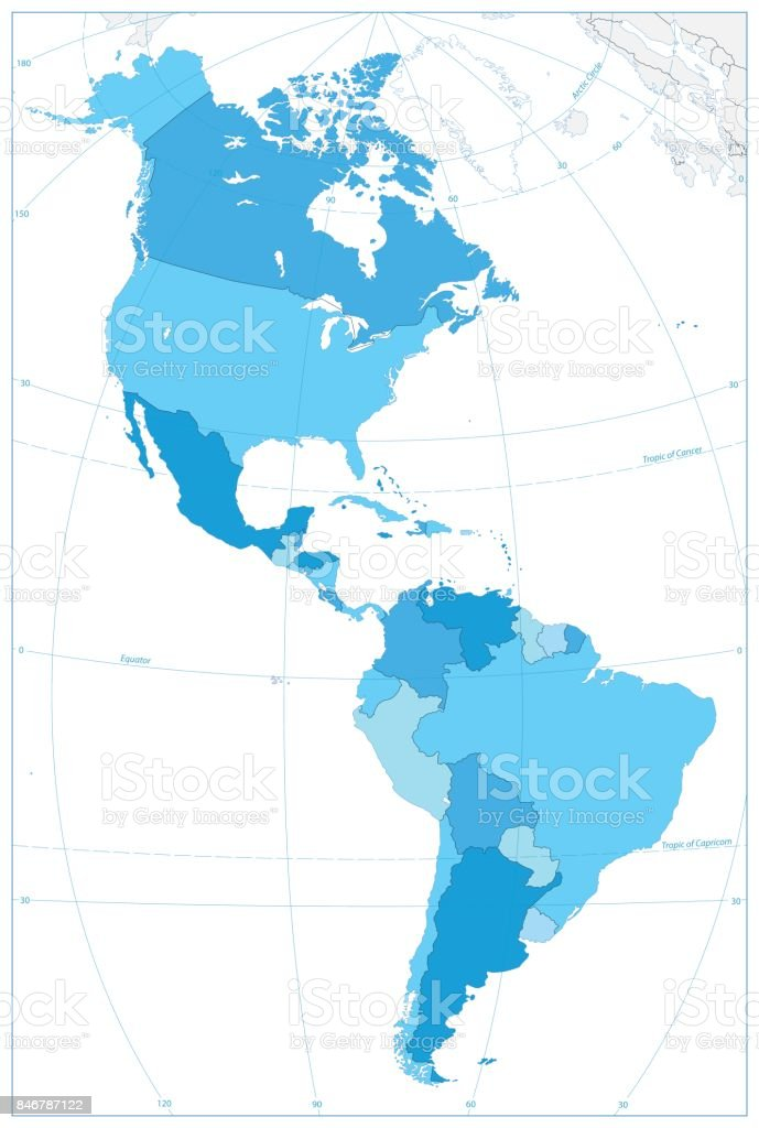North and South America Map In Colors Of Blue. No text vector art illustration