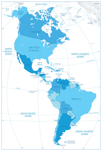 North And South America Map In Colors Of Blue Stock Illustration - on america state map, usa map, texas map, greece's map, europe map, latin america map, kenya's map, portugal's map, brazil's map, indonesia's map, south america map, central america map, canada map, world map, mexico map, africa map, jamaica's map, asia map, c america map, north america map,