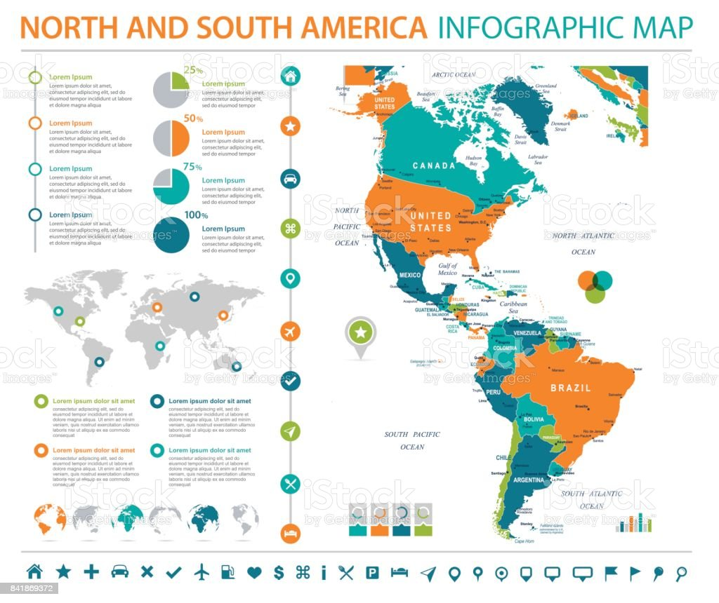 North and South America Map - Info Graphic Vector Illustration vector art illustration