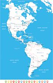 North and South America - map, navigation icons - illustration