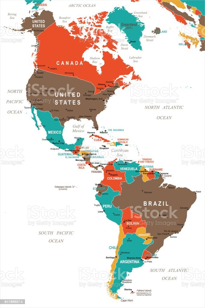 North And South America Map Vector Illustration Stock Vector ...