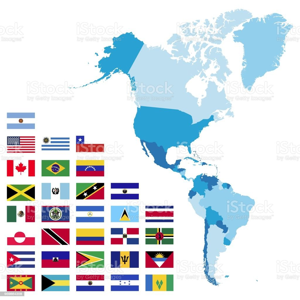 North and South America maps and flags vector art illustration