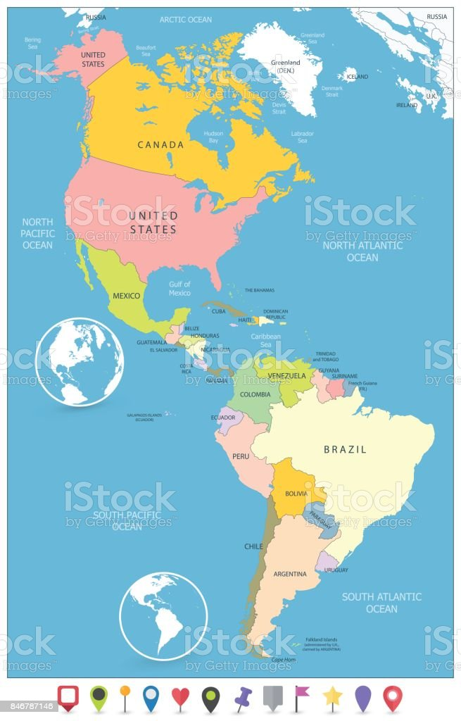 North And South America Political Map And Flat Map Markers Stock ...