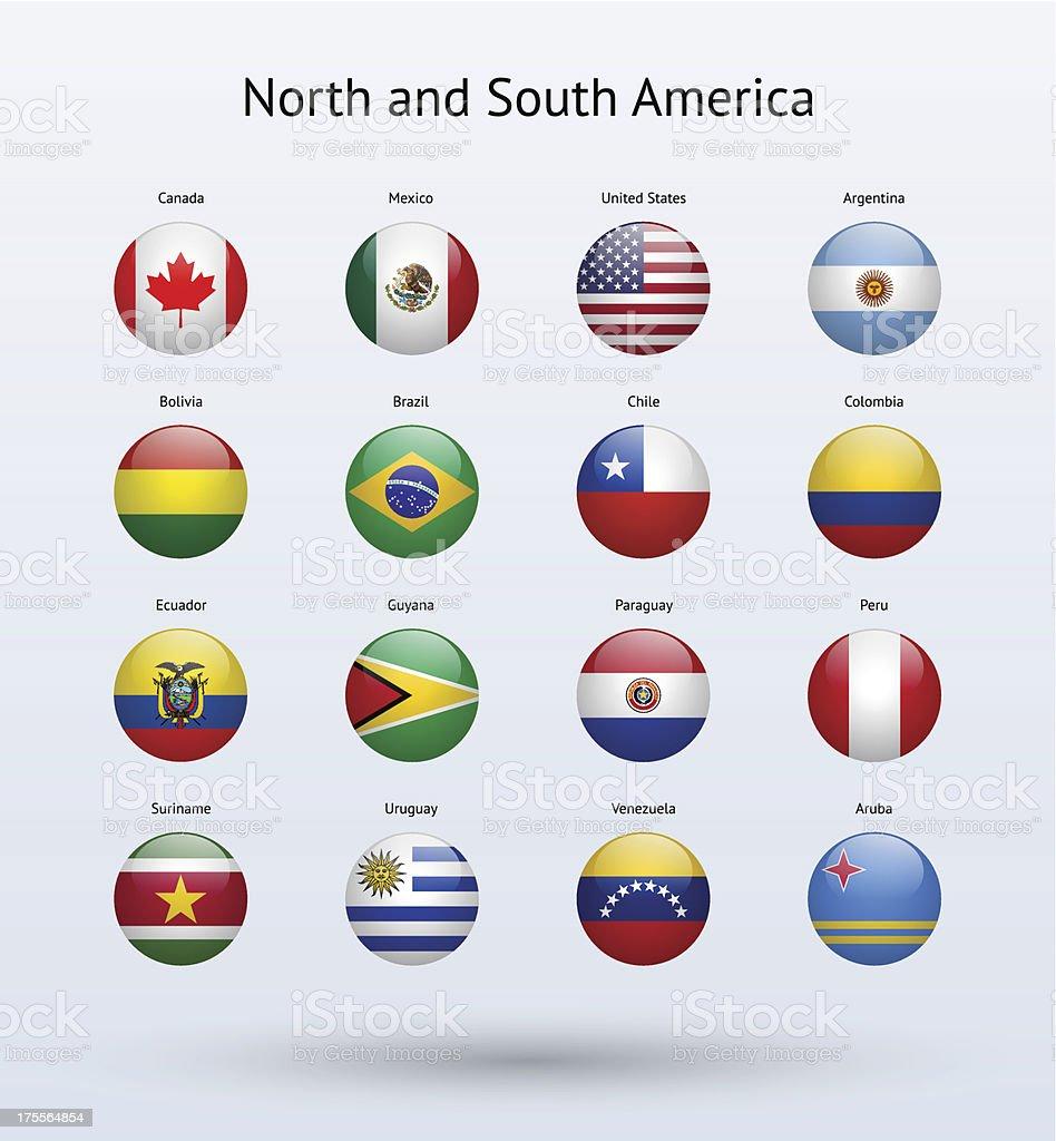 Norteamérica y Sudamérica ronda Banderas colección - ilustración de arte vectorial