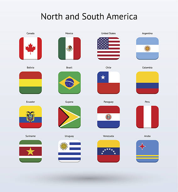north and south america square icons flags collection - ecuador flag stock illustrations