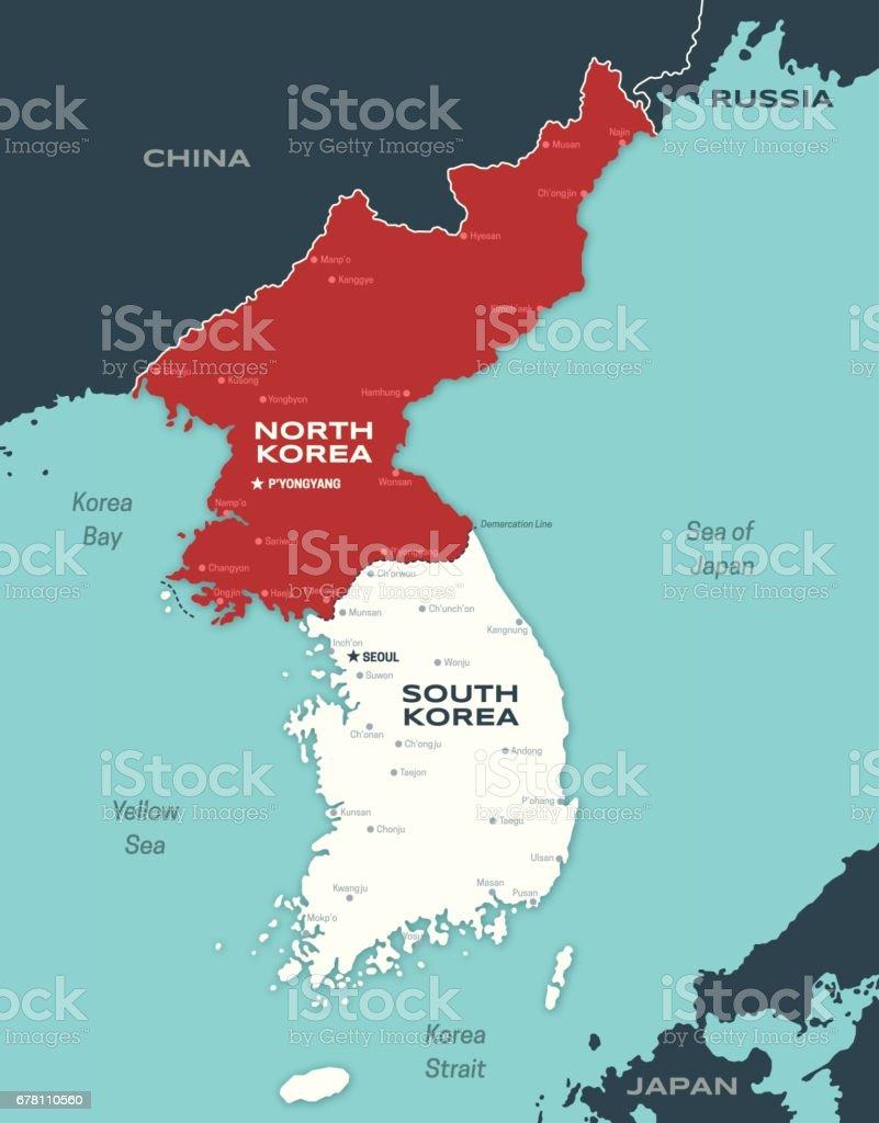 Map Of Asia Korean Peninsula.North And South Korea Korean Peninsula Map Stock Vector Art More