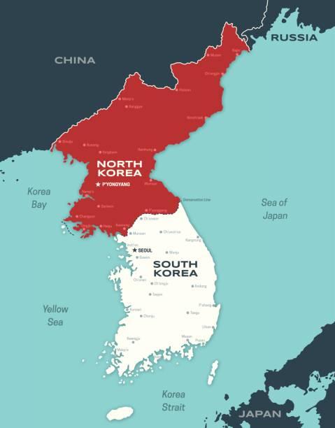 stockillustraties, clipart, cartoons en iconen met noord- en zuid-korea koreaanse schiereiland kaart - zuid korea