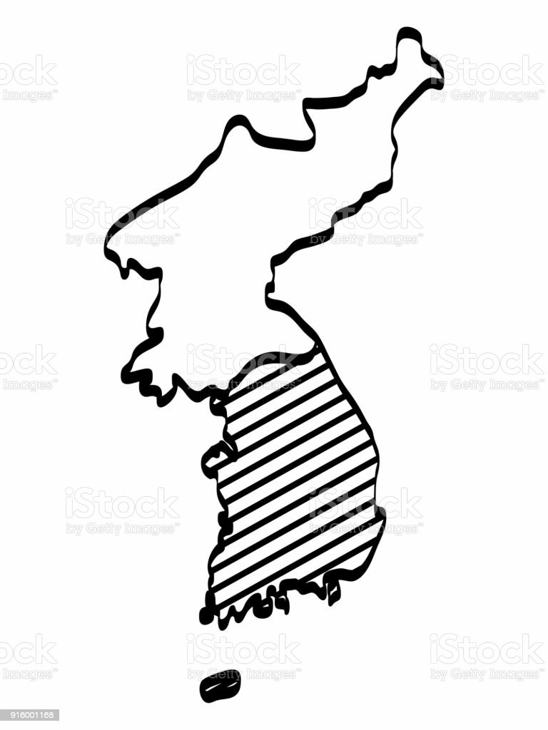 North and south korea map outline graphic freehand drawing on white north and south korea map outline graphic freehand drawing on white background vector illustration royalty gumiabroncs Gallery