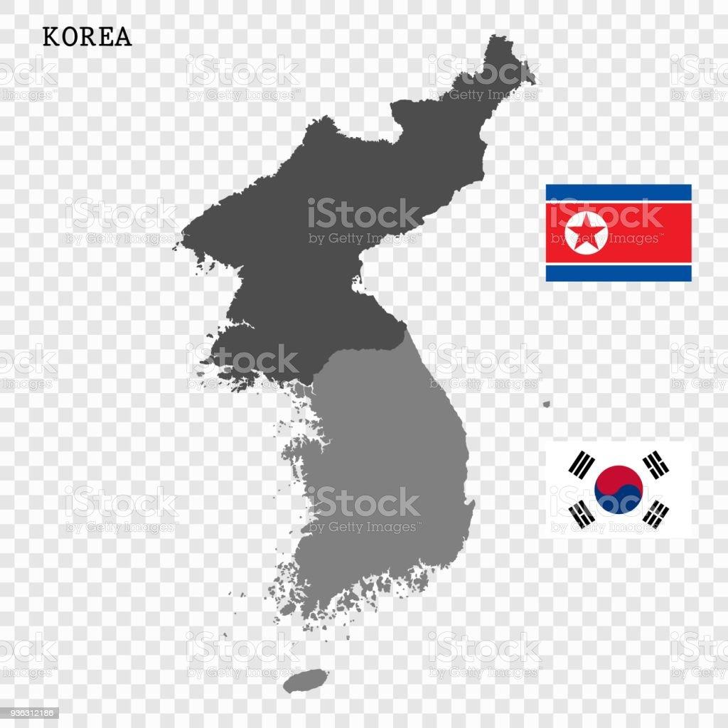 Mapa de vetor norte e Coreia do Sul - ilustração de arte em vetor