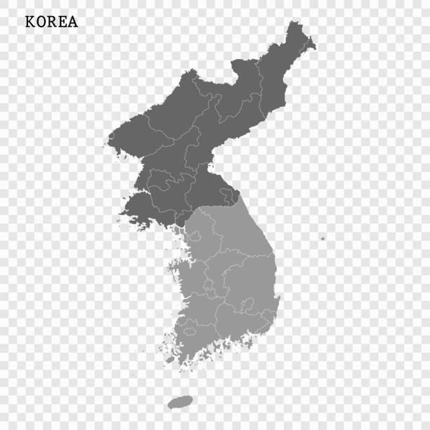 stockillustraties, clipart, cartoons en iconen met kaart van noord- en zuid-korea vector - zuid korea