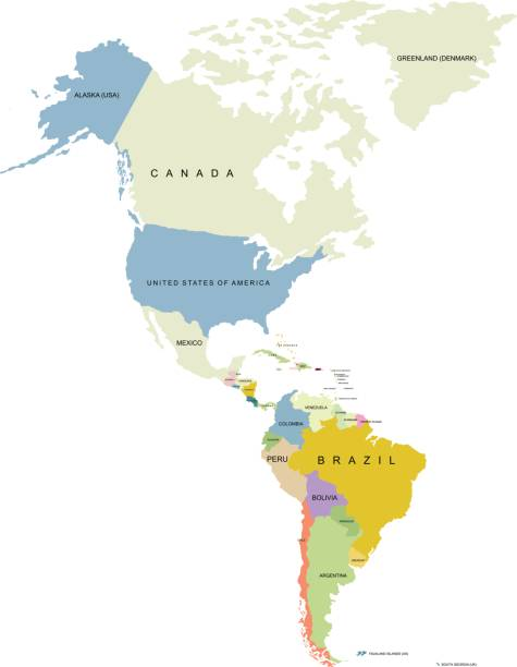 north and south of america territory, territory of canada - south america maps stock illustrations, clip art, cartoons, & icons