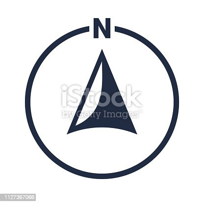 istock North arrow icon or N direction and navigation point symbol. Vector logo in circle for GPS navigator map 1127367066