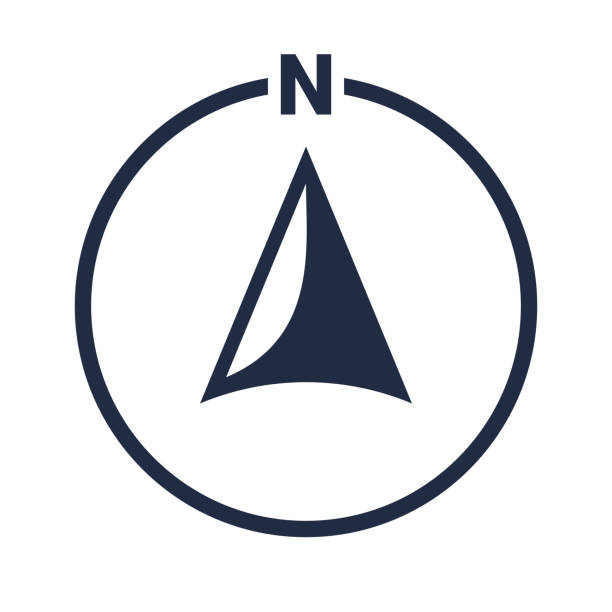north arrow icon or n direction and navigation point symbol. vector logo in circle for gps navigator map - compass stock illustrations