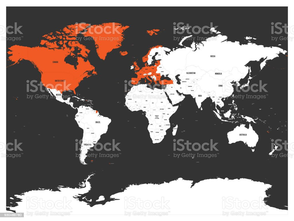 North atlantic treaty organization nato member countries highlighted north atlantic treaty organization nato member countries highlighted by orange in world political map gumiabroncs Image collections