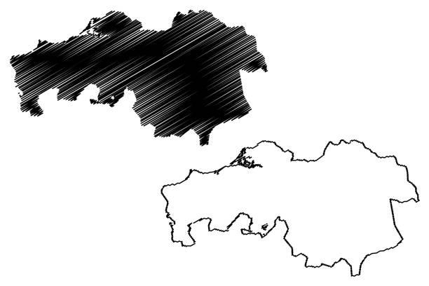 stockillustraties, clipart, cartoons en iconen met provincie noord-brabant (nederland) kaart vector illustratie, krabbel sketch brabant kaart - eindhoven