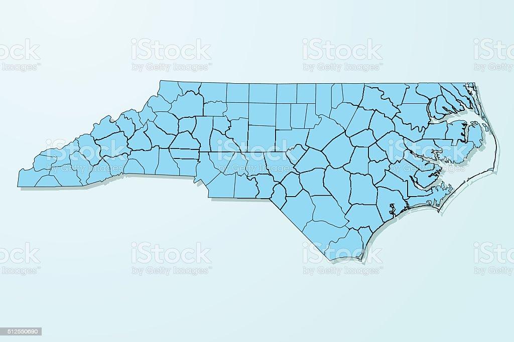 North Carolina blue map on degraded background vector vector art illustration