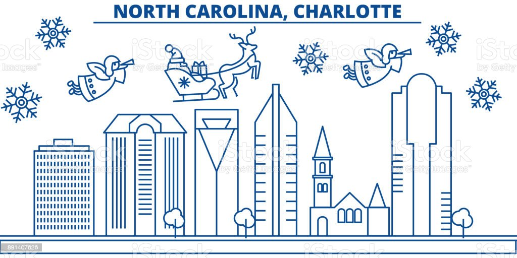 Usa North Carolina Charlotte Winter Skyline Der Stadt Frohe ...