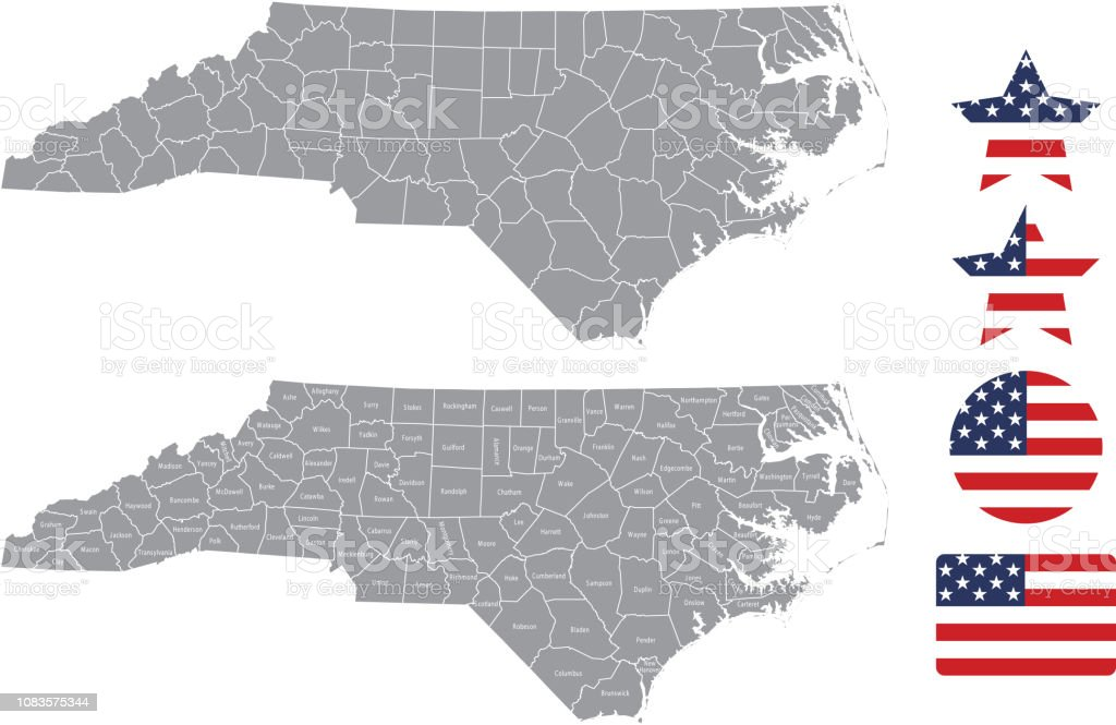 United States Map With County Names.North Carolina County Map Vector Outline In Gray Background North