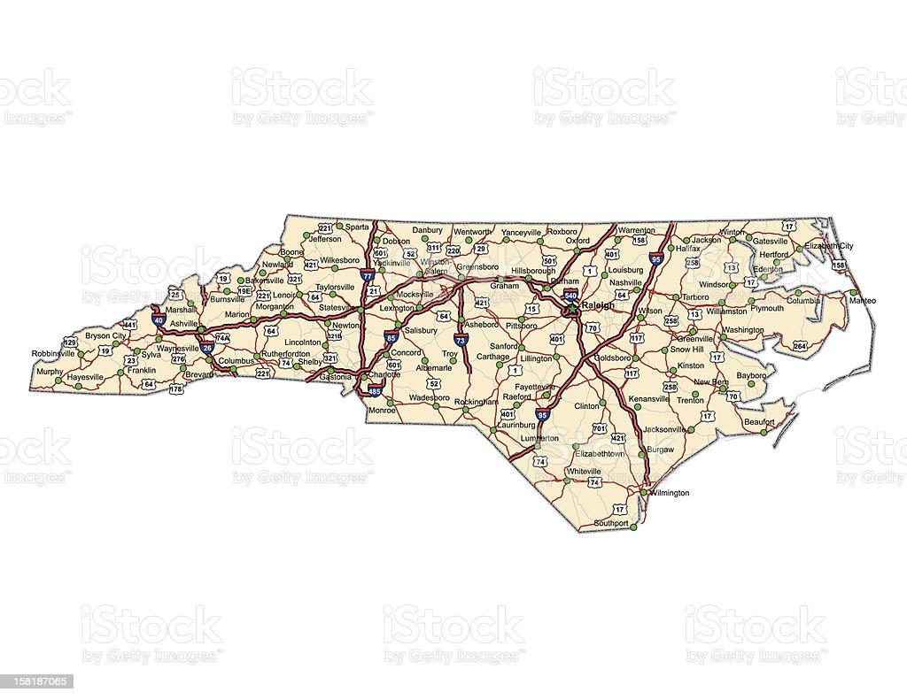 North Carolina Highway Map vector art illustration