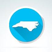 North Carolina map icon, Flat Design, Long Shadow