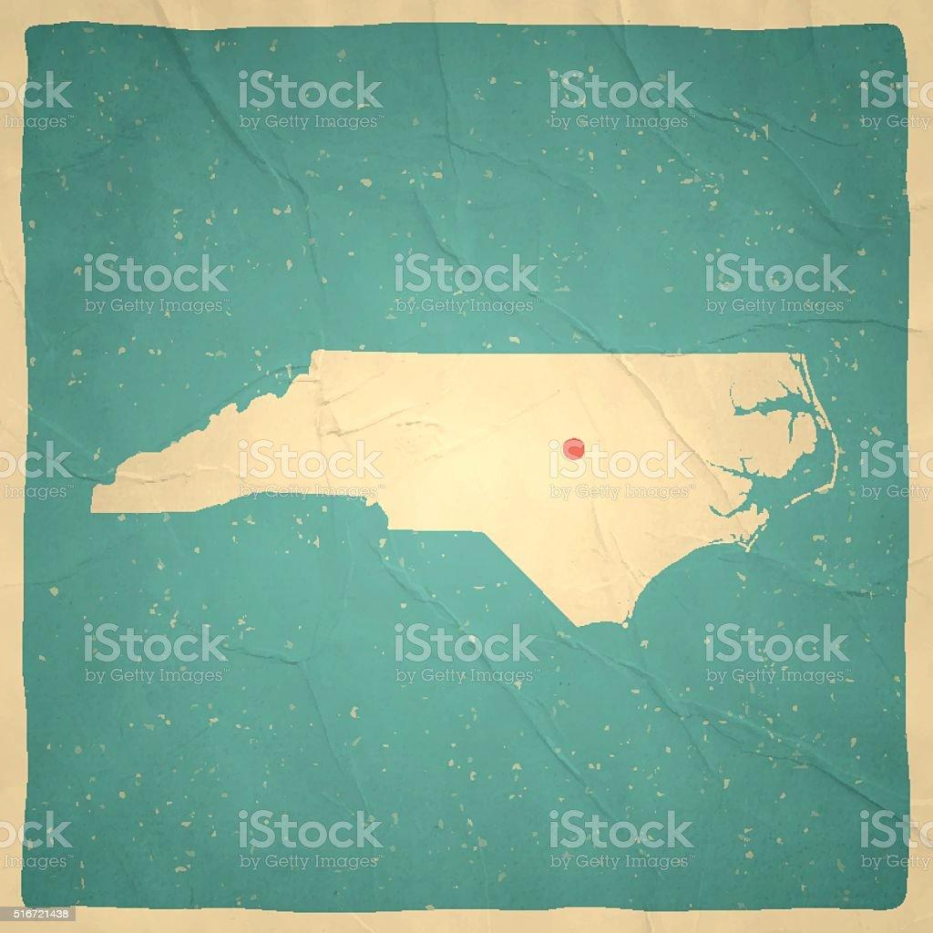 North Carolina Map on old paper - vintage texture vector art illustration