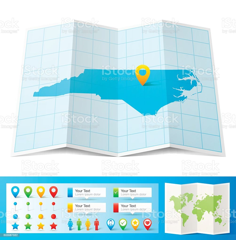 North Carolina Map with location pins isolated on white Background vector art illustration
