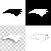North Carolina maps for design - Blank, white and black backgrounds