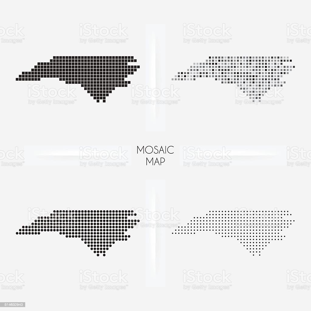 North Carolina maps - Mosaic squarred and dotted vector art illustration