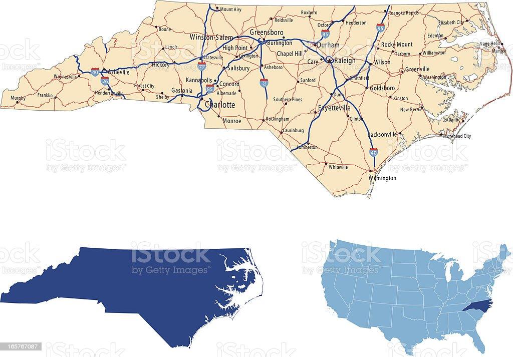North Carolina road map vector art illustration