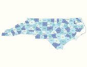 Detailed state-county map of North Carolina. This file is part of a series of state/county maps.  Each file is constructed using multiple layers including county borders, county names, and a highly detailed state silhouette. Each file is fully customizable with the ability to change the color of individual counties to suit your needs.  Zip contains both .AI_CS2 and .ESP_8.0 as well as a large JPEG file.  Map generated using data from the public domain.  (http://www.census.gov/geo/www/tiger/) Traced using Adobe Illustrator CS2 on 7/28/2006. 3 data layers.