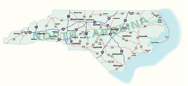 North Carolina State Interstate Map vector art illustration