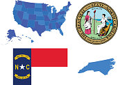 Vector illustration of North Carolina state, contains: