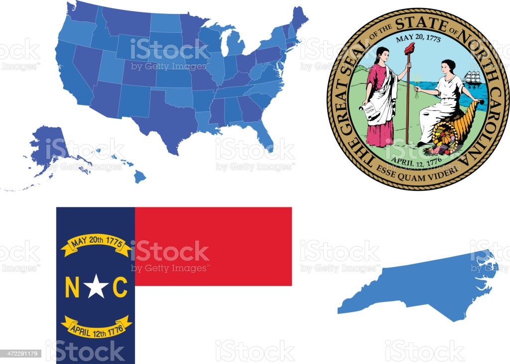 North Carolina state set vector art illustration