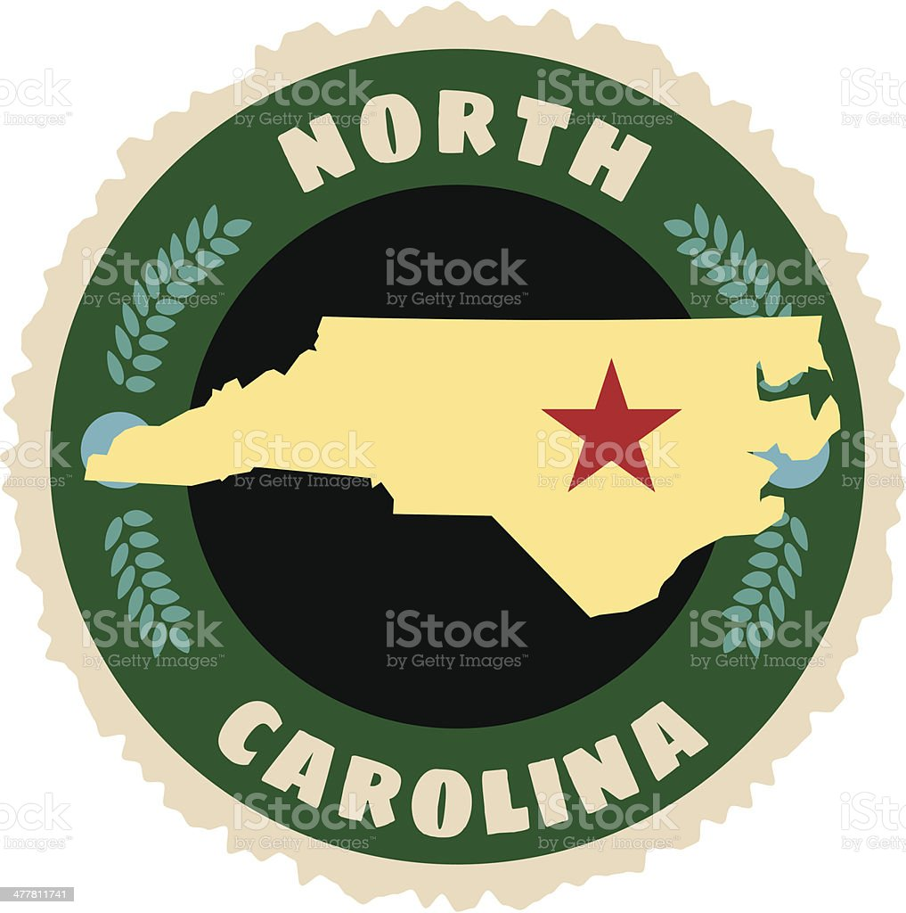 North Carolina travel sticker or luggage label royalty-free stock vector art