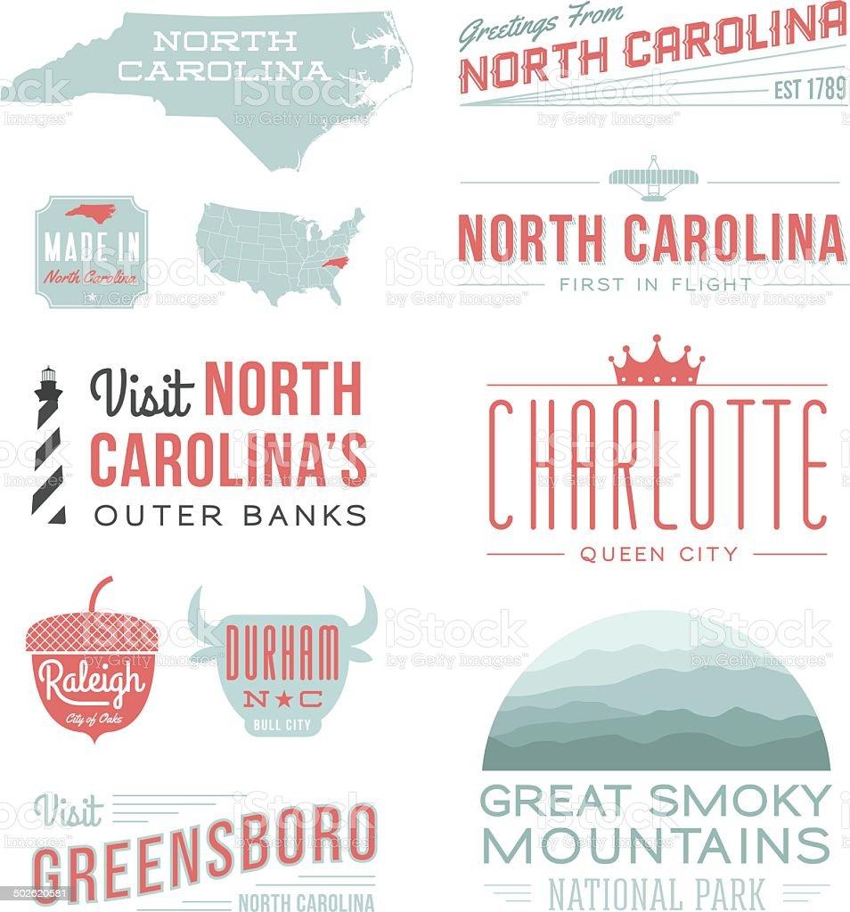 North Carolina Typography vector art illustration