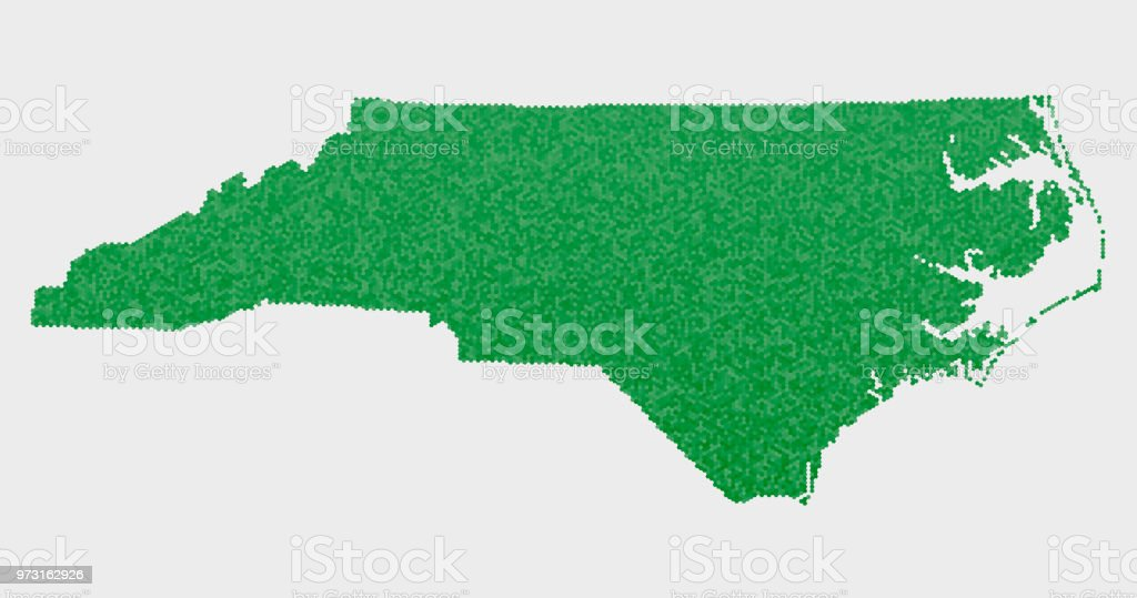Carolina Us Map.North Carolina Us State Map Green Hexagon Pattern Stock Vector Art