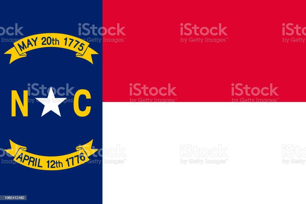 Vector bandeira de Carolina do Norte. Ilustração em vetor. Estados Unidos da América. Raleigh - ilustração de arte em vetor