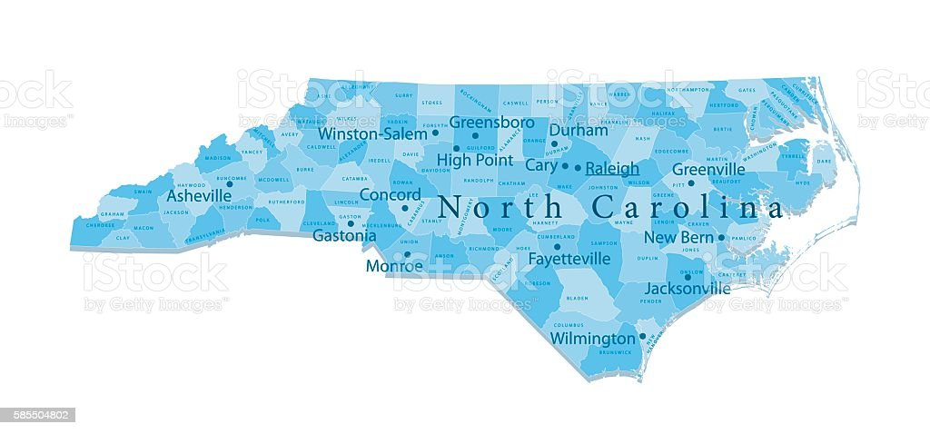 North Carolina Vector Map Isolated vector art illustration