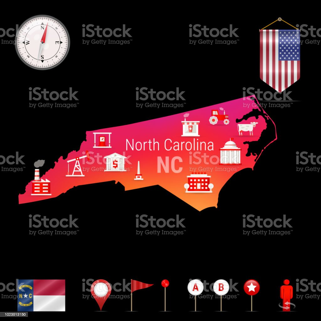 North Carolina Vector Map Night View Compass Icon Map Navigation