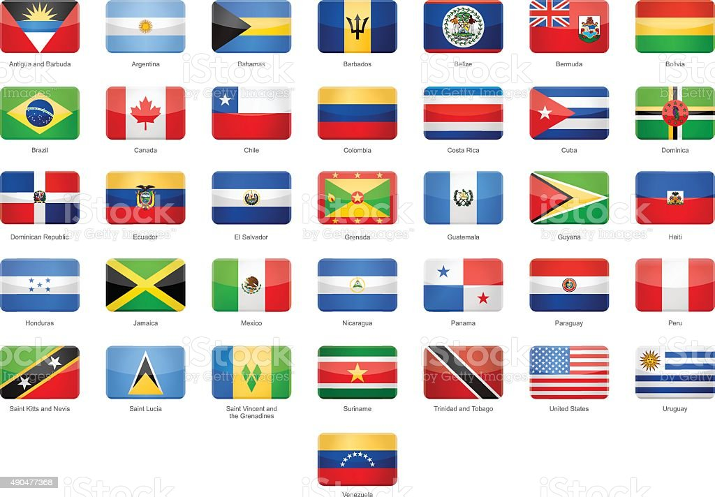 North, Central and South America - Glossy Rectangle Flags vector art illustration