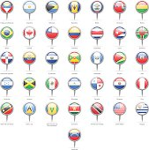 North, Central and South America - Round Flag Pins