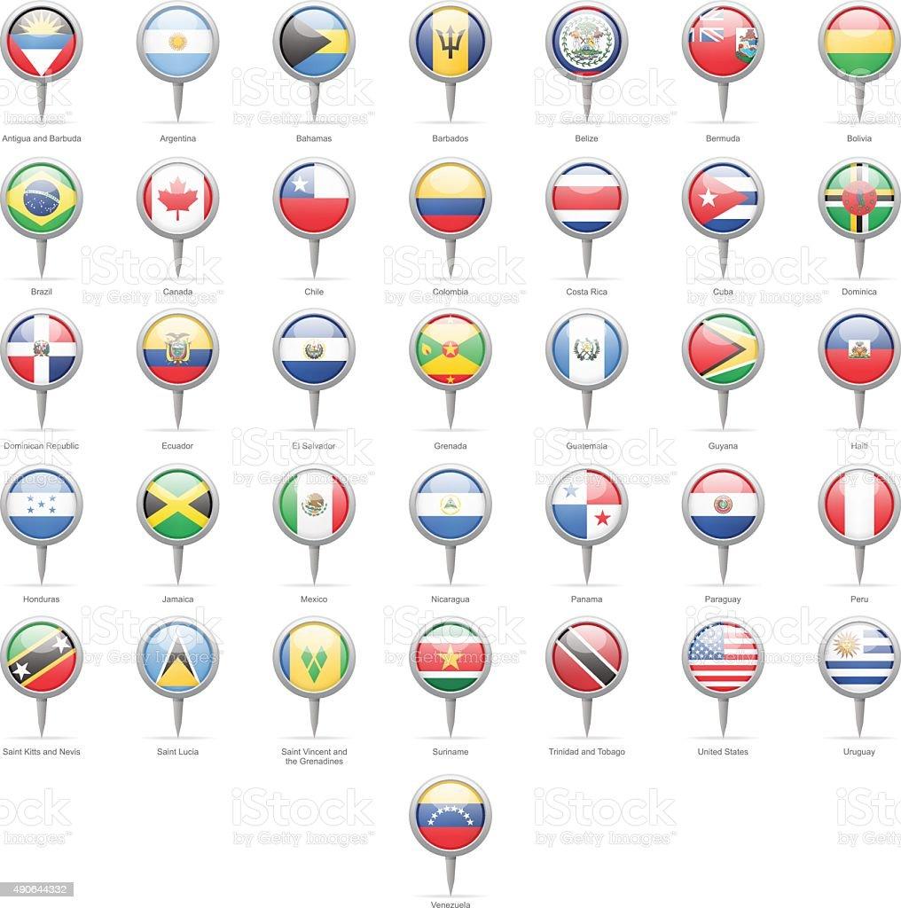Ao norte, Central and South America-Round bandeira Pins - ilustração de arte em vetor