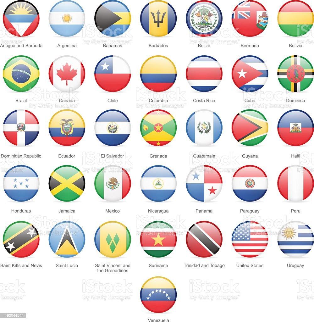 Nord-, Mittel- und Südamerika – runde Flaggen-Grafik – Vektorgrafik