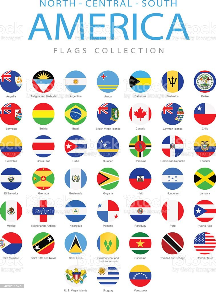 North, Central and South America - Rounded Flags - Illustration vector art illustration