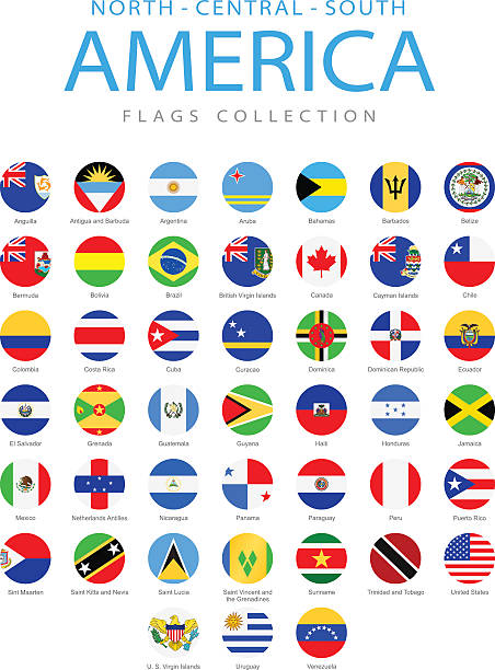 North, Central and South America - Rounded Flags - Illustration American Flags Full Collection latin america stock illustrations
